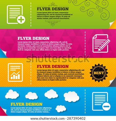 Flyer brochure designs. File document icons. Document with chart or graph symbol. Edit content with pencil sign. Add file. Frame design templates. Vector - stock vector