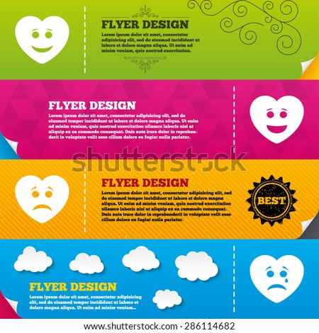 Flyer brochure designs. Heart smile face icons. Happy, sad, cry signs. Happy smiley chat symbol. Sadness depression and crying signs. Frame design templates. Vector - stock vector