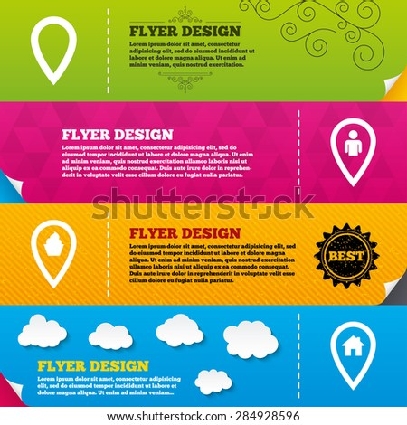 Flyer brochure designs. Map pointer icons. Home, food and user location symbols. Restaurant and cupcake signs. You are here. Frame design templates. Vector - stock vector