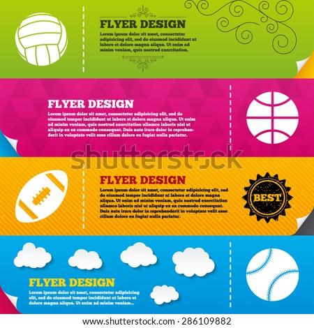 Flyer brochure designs. Sport balls icons. Volleyball, Basketball, Baseball and American football signs. Team sport games. Frame design templates. Vector - stock vector