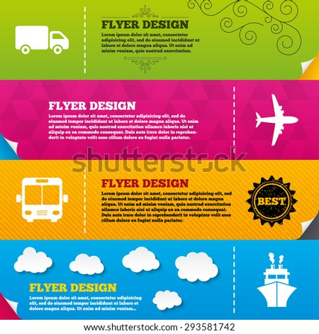 Flyer brochure designs. Transport icons. Truck, Airplane, Public bus and Ship signs. Shipping delivery symbol. Air mail delivery sign. Frame design templates. Vector - stock vector