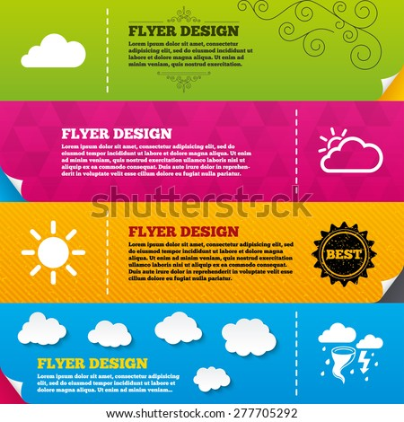 Flyer brochure designs. Weather icons. Cloud and sun signs. Storm or thunderstorm with lightning symbol. Gale hurricane. Frame design templates. Vector - stock vector