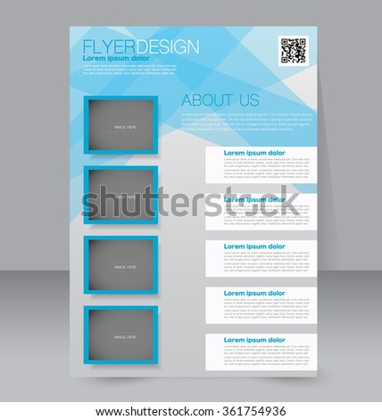 Flyer, brochure, magazine cover template design for education, presentation, website. Blue color. Editable vector illustration. - stock vector