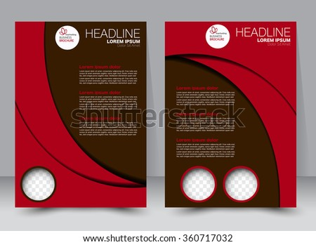 Flyer, brochure, magazine cover template design for education, presentation, website. Red color. Editable vector illustration. - stock vector
