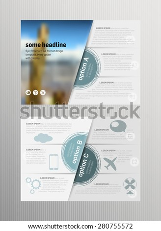 Flyer / brochure template design, 3 items per option, A-format including crop marks
