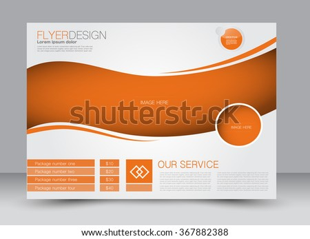 Flyer Brochure Template Design Landscape Orientation Stock Vector - Brochure template ideas