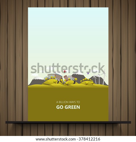 Flyer design. Landscape with fields and hills. Think Green. Ecology Concept.  - stock vector
