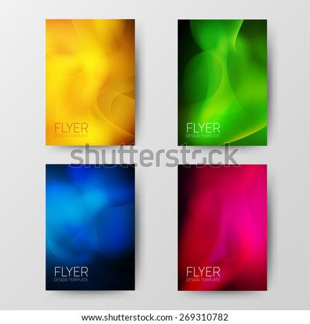 Flyer design template. Blur abstract background. Vector illustration.