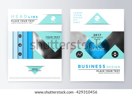 Template Vector Triangle Blue Set Brochure Stock Vector - Template of a brochure