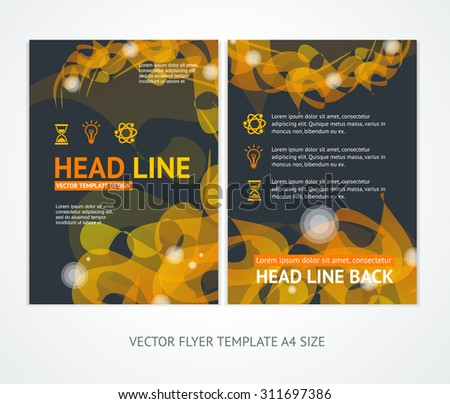 Flyer Design Templates Abstract Geometric Orange Wave. Vector illustration