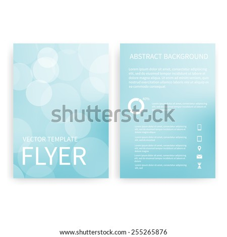 Flyer design templates. Set of blue A4 brochure design templates with geometric bokeh lights abstract modern backgrounds. Infographic concept, mobile technologies, applications and online services