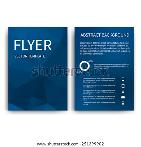 Flyer design templates. Set of blue A4 brochure design templates with geometric triangular abstract modern background. Infographic concept, mobile technologies, applications and online services