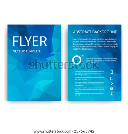 Flyer design templates. Set of blue A4 brochure design templates with geometric triangular modern backgrounds. Infographic concept, mobile technologies, applications and online services - stock vector
