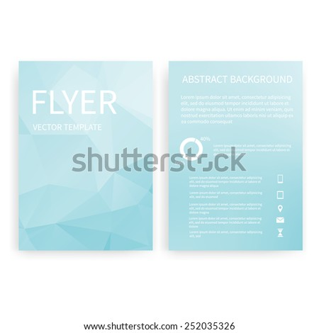 Flyer design templates. Set of light blue A4 brochure design templates with geometric triangular abstract modern backgrounds. Infographic concept, mobile technologies, applications and online services