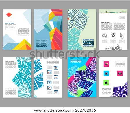 Flyer, leaflet, booklet layout set. Editable design template. A4 2-fold brochure with abstract elements, infographics - stock vector