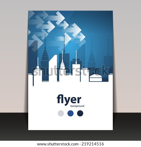 Flyer or Cover Design - Cityscape Silhouette - stock vector