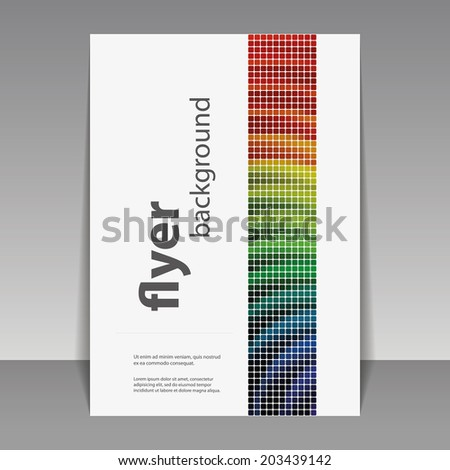 Flyer or Cover Design with Colorful Mosaic Pattern - stock vector