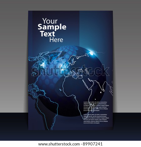 Flyer or Cover Design with Digital globe vector - stock vector