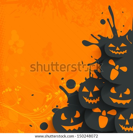Flyer, poster or banner for Halloween Dance Party on grungy orange background with scary pumpkins.  - stock vector