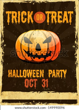 Flyer, poster or banner for Trick or Treat Halloween Party on grungy background with scary pumpkin.  - stock vector