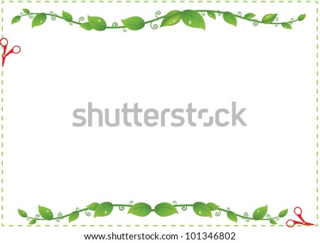Flyer Sale With Branches And Leaflets, Vector Illustration - stock vector