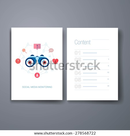 Flyer. Set of modern flat design icons on the topic of corporate brand monitoring and social media marketing. Social graph and connection in web vector illustration. Web advertising modern apps icons. - stock vector