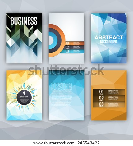 Flyer Sets - Abstract Backgrounds - Presentation Template - Brochure Print Design Elements - stock vector