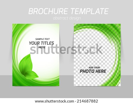 Flyer template back and front design for ecology with leaves in green color - stock vector