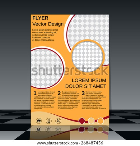 Flyer template. Brochure cover, poster, booklet abstract vector design. - stock vector