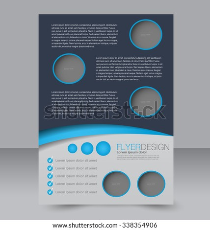 Flyer template. Brochure design. Editable A4 poster for business, education, presentation, website, magazine cover. Blue color.