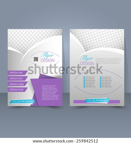 Flyer template. Business brochure. Editable A4 poster for design, education, presentation, website, magazine cover. Purple and silver color. - stock vector