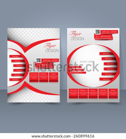 Flyer template. Business brochure. Editable A4 poster for design, education, presentation, website, magazine cover. Red cover color. - stock vector