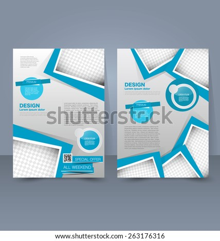 Flyer template. Business brochure. Editable A4 poster for design, education, presentation, website, magazine cover. Blue color. - stock vector