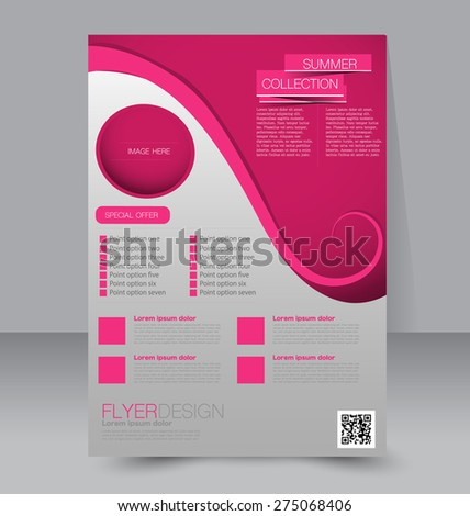 Flyer template. Business brochure. Editable A4 poster for design, education, presentation, website, magazine cover. Pink color - stock vector
