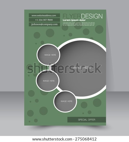 Flyer template. Business brochure. Editable A4 poster for design, education, presentation, website, magazine cover. Green color - stock vector