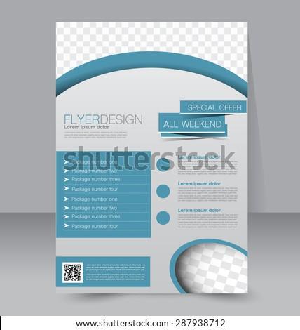 Flyer template. Business brochure. Editable A4 poster for design, education, presentation, website, magazine cover. Blue color. - stock vector