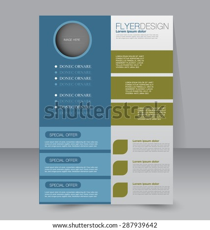 Flyer template. Business brochure. Editable A4 poster for design, education, presentation, website, magazine cover. Blue and green color. - stock vector