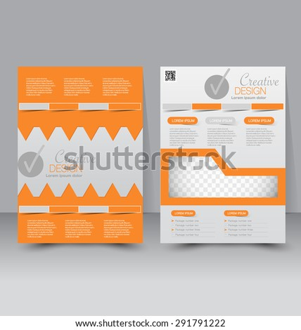 Flyer template. Business brochure. Editable A4 poster for design, education, presentation, website, magazine cover. Orange color. - stock vector