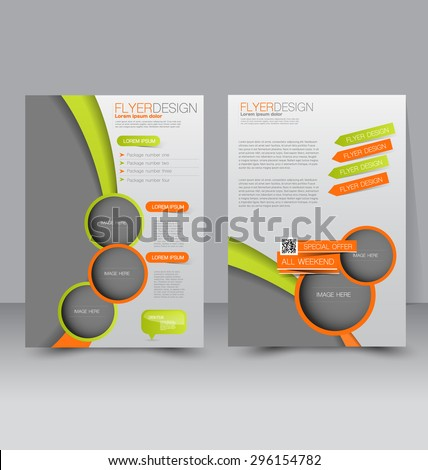 Flyer template. Business brochure. Editable A4 poster for design, education, presentation, website, magazine cover. Orange and green color. - stock vector