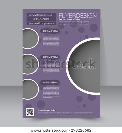 Flyer template. Business brochure. Editable A4 poster for design, education, presentation, website, magazine cover. Purple color - stock vector