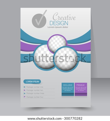 Flyer template. Business brochure. Editable A4 poster for design, education, presentation, website, magazine cover. Blue and purple color. - stock vector