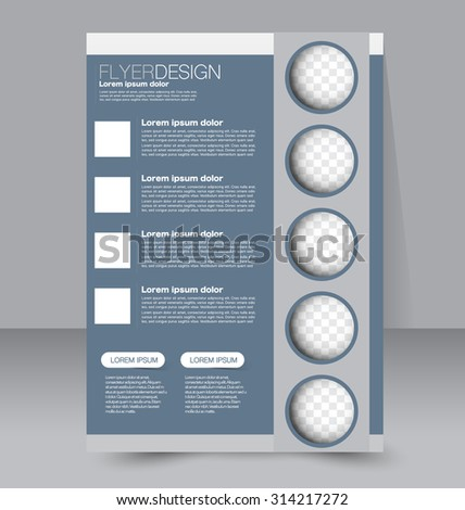 Flyer template. Business brochure. Editable A4 poster for design, education, presentation, website, magazine cover. Grey color. - stock vector
