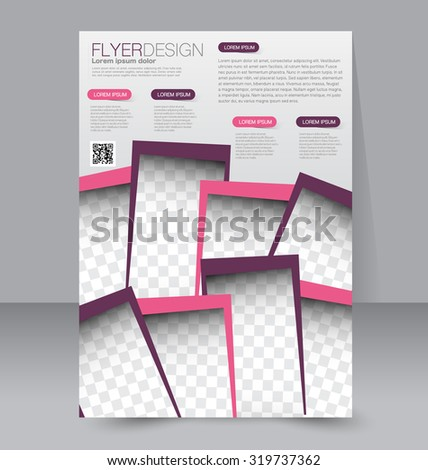Flyer template. Business brochure. Editable A4 poster for design, education, presentation, website, magazine cover. Pink and purple color - stock vector