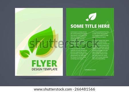 Vector Green Annual Report Leaflet Brochure Stock Vector