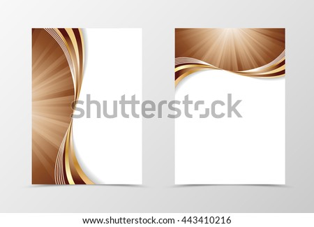 Flyer template swirl design. Abstract flyer template in coffee with milk colors with gold lines. Wave spectrum flyer design. Vector illustration - stock vector
