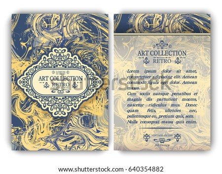 Flyer template with calligraphic frames on yellow and blue marble imitation background. Set of front and back A4 page design for greeting cards, menu, layout, brochure, book