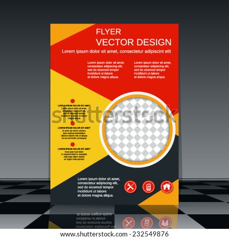Flyer vector template. Abstract cover background. - stock vector