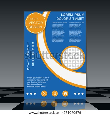 Flyer vector template. Brochure cover, poster, booklet abstract design. - stock vector