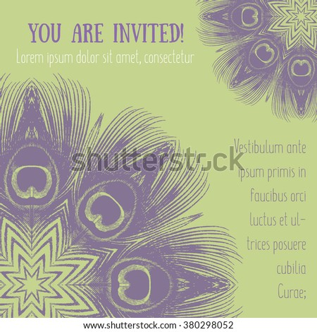 Flyer with peacock feather motifs vector illustration