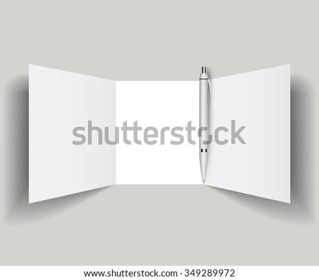 flyer with pen - stock vector